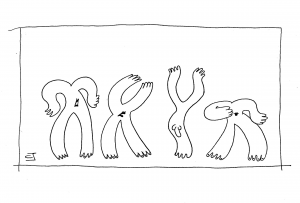 cartoon by cath jackson with X chromosomes oohing and aahing Y chromosome with willy