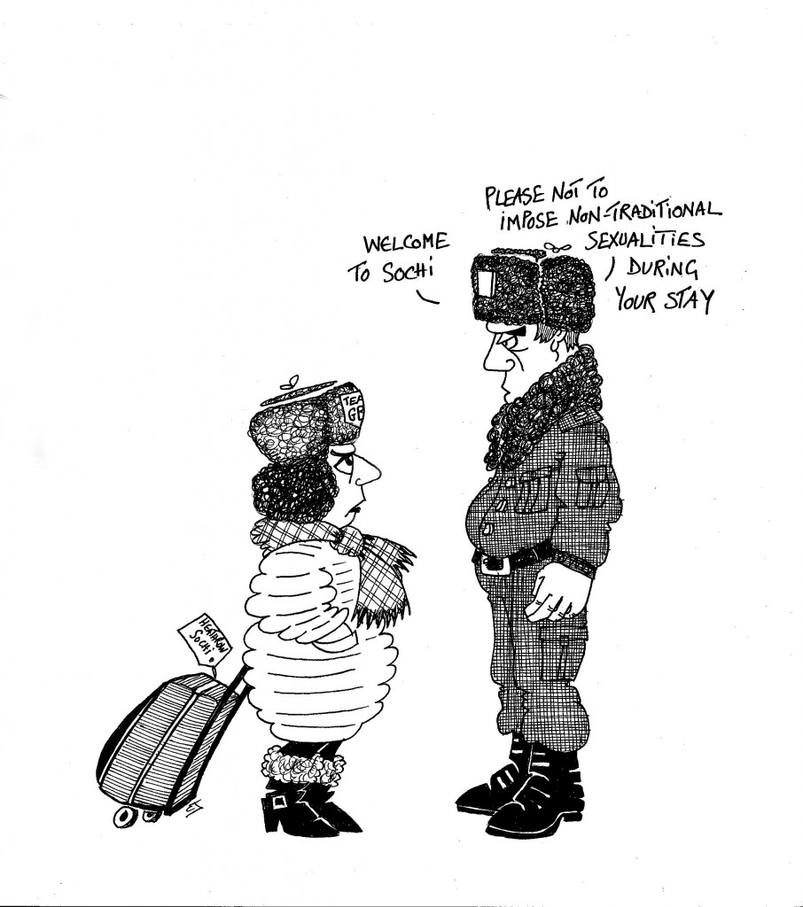"Cartoon: Russian border guard says: ""Welcome to Sochi. Please not to impose non-traditional sexualities during your stay."""